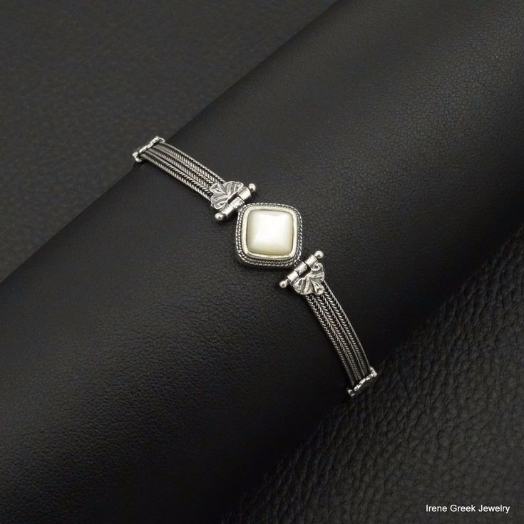 NATURAL MOTHER OF PEARL BYZANTINE STYLE 925 STERLING SILVER GREEK ART BRACELET #IreneGreekJewelry #Chain
