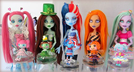 Holly Daze Custom OOAK Monster High dolls and Lalaloopsys to match