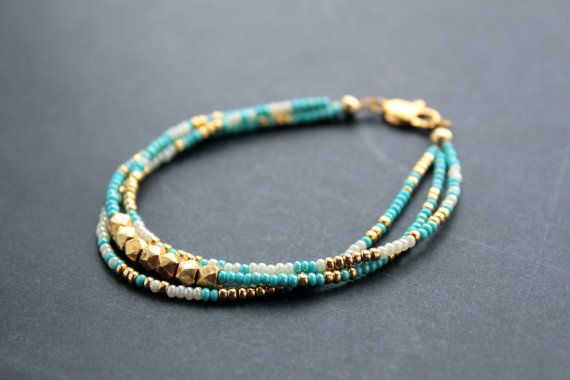 Golden Sky Bracelet Gold Vermeil Nuggets Blue by MordakkDesigns, $48.00 •Materials: seed beads, gold filled findings, gold vermeil nugget beads, 24kt gold plated seed beads