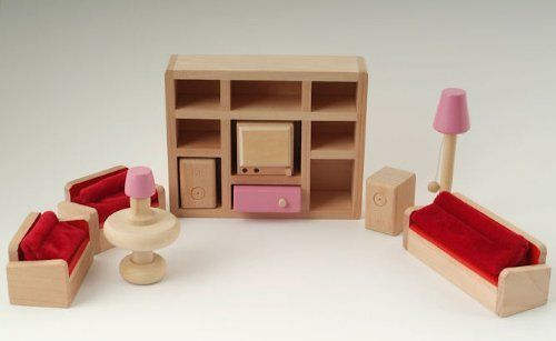 Wooden Dolls House Furniture Set - Pink Living Room
