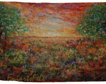 Gevilte abstracte textuur schilderij Roest 2 vilt door EniartsFelt