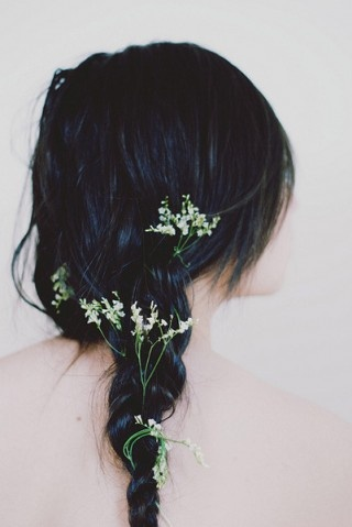 so pretty, deep blue hair with flowers braided in