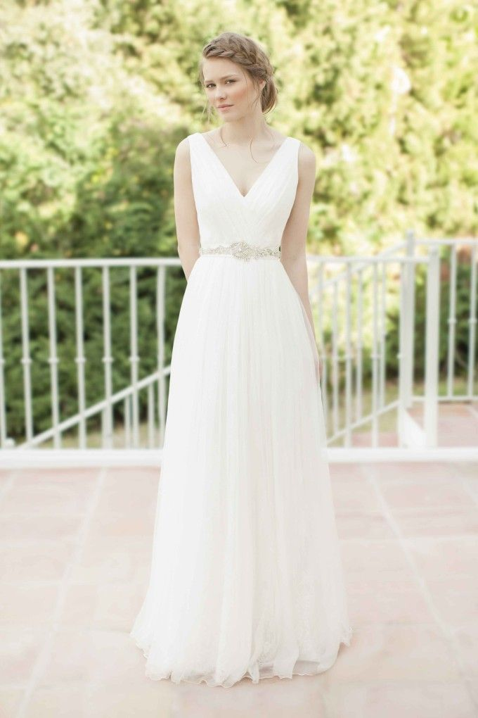 SADONI dress NACHA in draped silk gauze with lace under layer and crystal sash. Gorgeous!