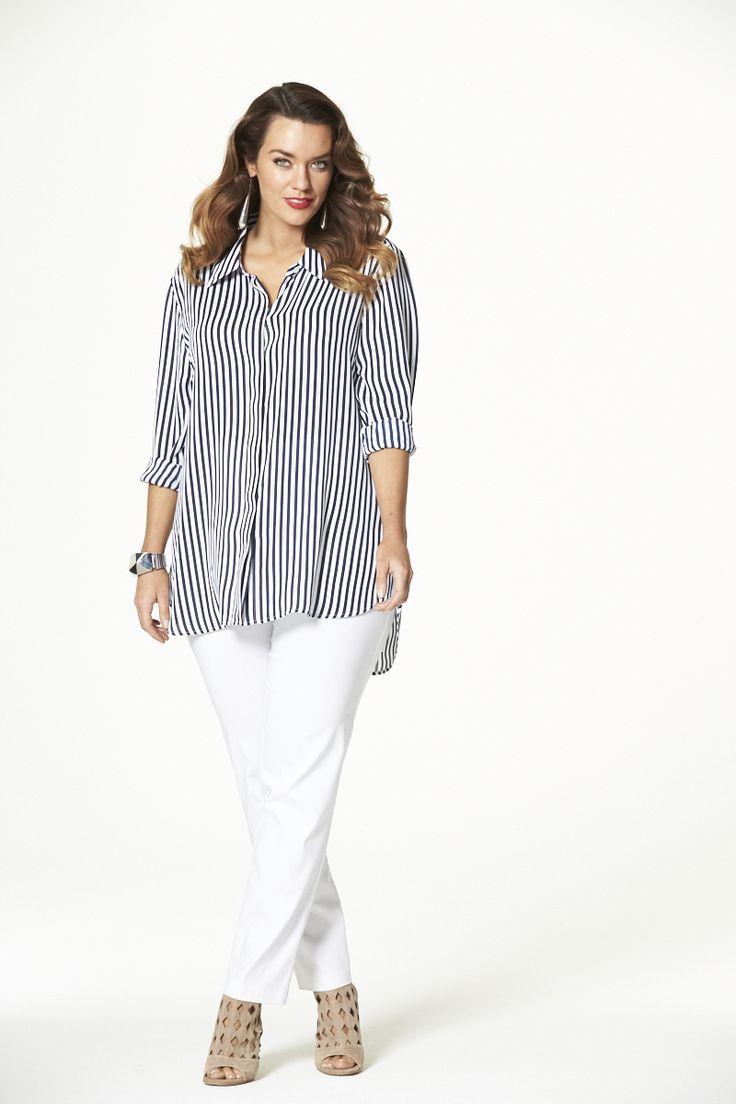 Sunshine Striped Shirt  #mysize #plussize #fashion #plussizefashion #spring #newarrivals #outfit