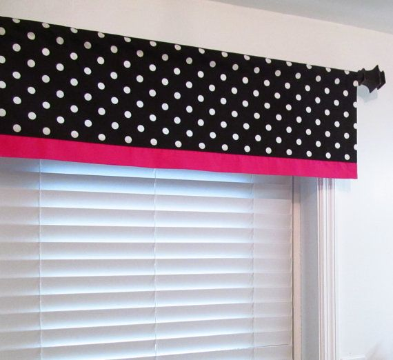 Black Pink Trimmed Valance Black And White Polka Dot With
