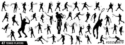 "Download the royalty-free vector ""Tennis silhouettes, Vector set of tennis players"" designed by ednal at the lowest price on Fotolia.com. Browse our cheap image bank online to find the perfect stock vector for your marketing projects!"