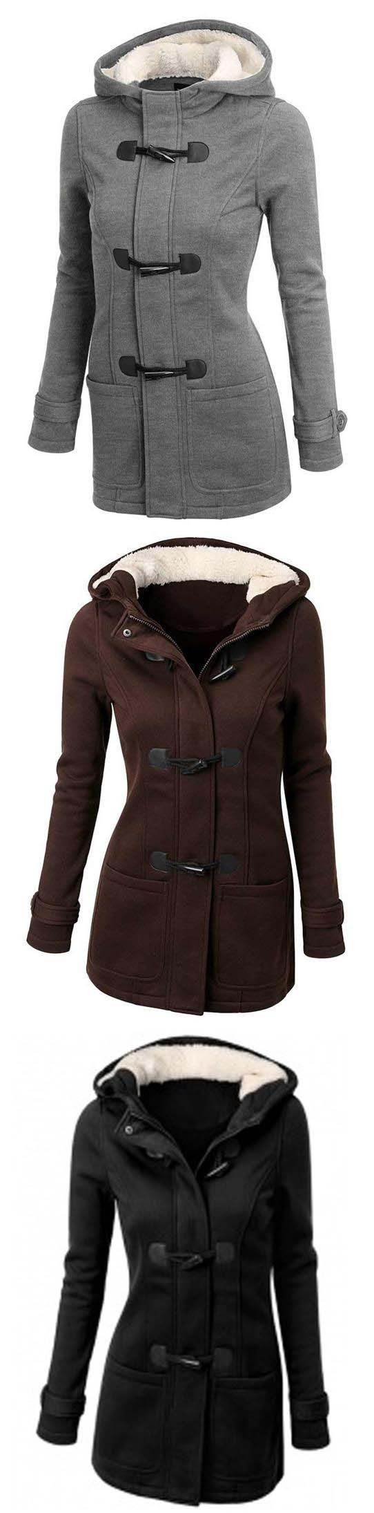 Basic style winter coat,can it get any better than this? The Traveller Coat features fleece hat,classic horn button and thick with lining. Get it at CUPSHE.COM