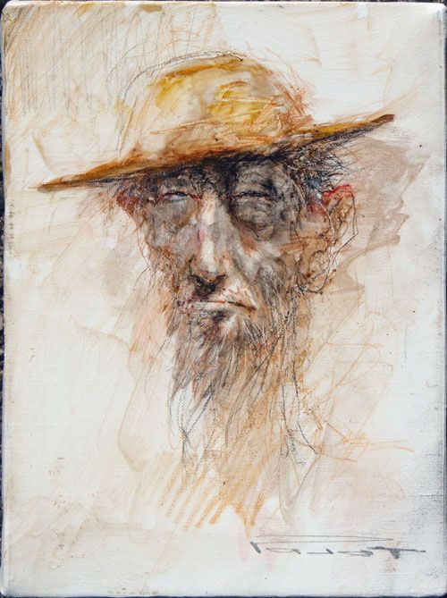 """MN Pajot  """"Don Quichotte - Petit portrait""""  technique mixte sur toile, 22x16 cm"""