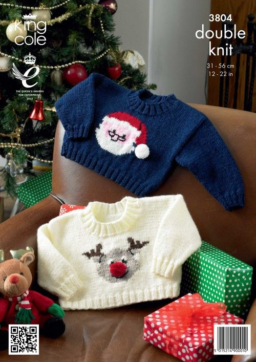 Childrens, Babies/ Toddlers Knitted Christmas jumper pattern Knitted Santa jumper Knitted Rudolph jumper Sweaters - King Cole Christmas knitting