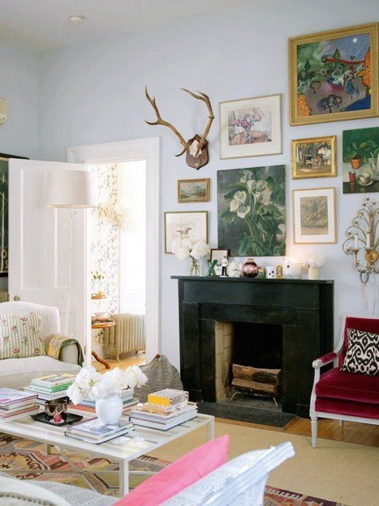 Would never ever ever ever hang a deer in my house, no mater how good of a kill it is,  but I love this look with the antlers.