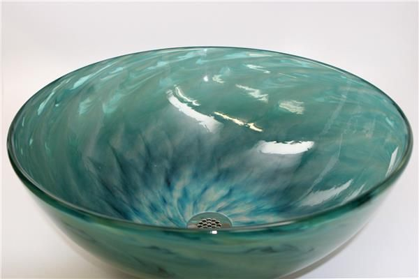 Blue Mist Swirl Hand Blown Glass Vessel Sink   SinksGallery
