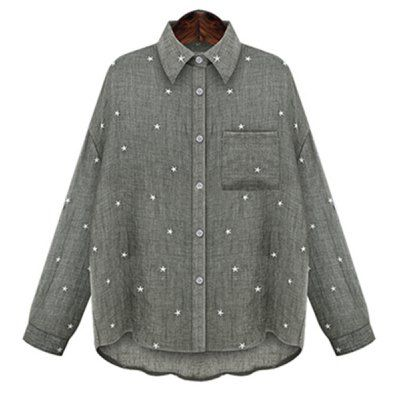 Fashioanble Shirt Collar Long Sleeve Star Print Plus Size Blouse For Women