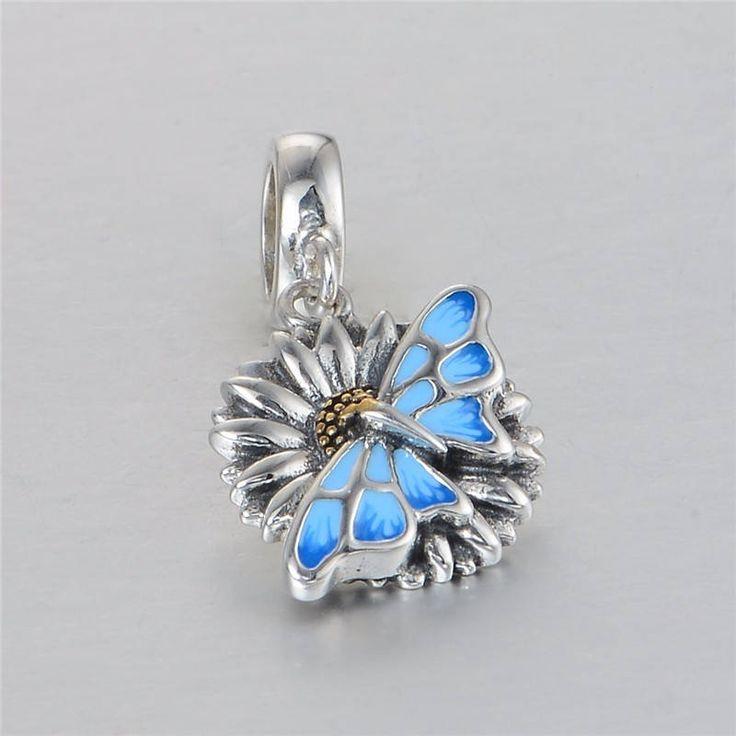 Farfalla su girasole ciondolo con smalto blu e oro Argento sterling 925 adatta misure Pandora charm Pandora bead Braccialetto europeo S3689 di OceanBijoux su Etsy