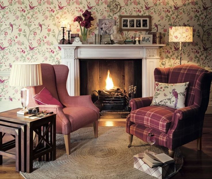 Cozy Laura Ashley Living Room    Great Use Of Red Colorway    Plaid Against  Floral Wallpaper. Part 79