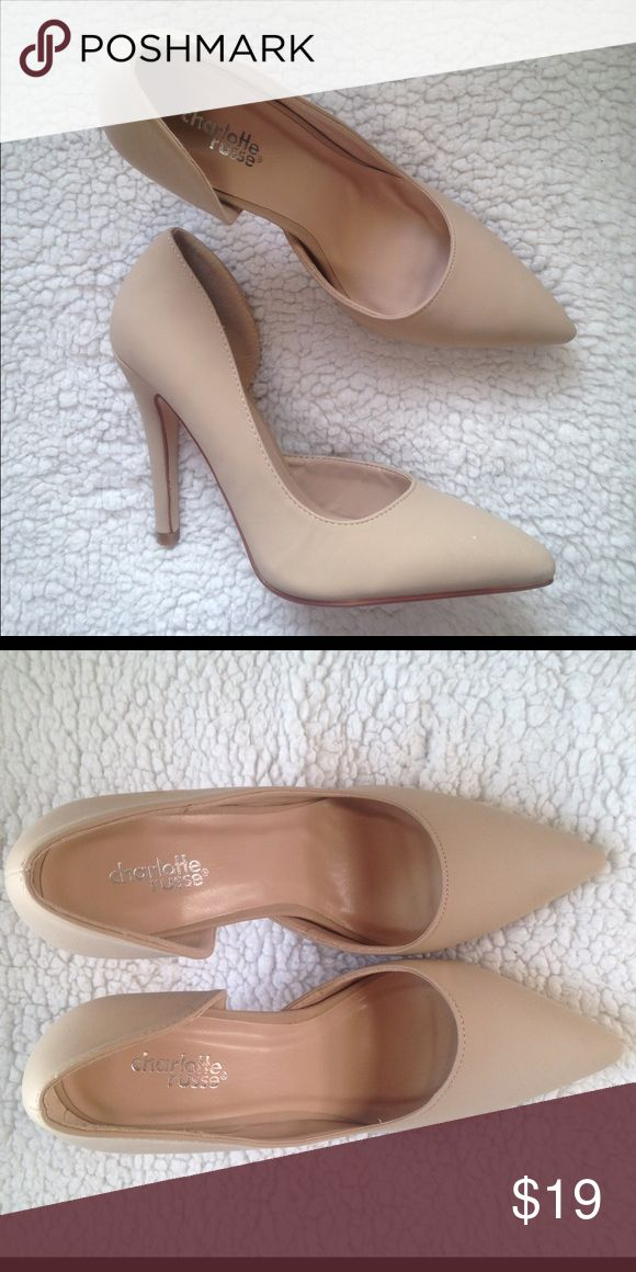 """Charlotte Russe Nude Mitten D'orsay Pointed Pumps Faux leather pointy toe with an asymmetrical d'Orsay silhouette, finished with a single sole and 4.25"""" stiletto heels. Charlotte Russe Shoes Heels"""