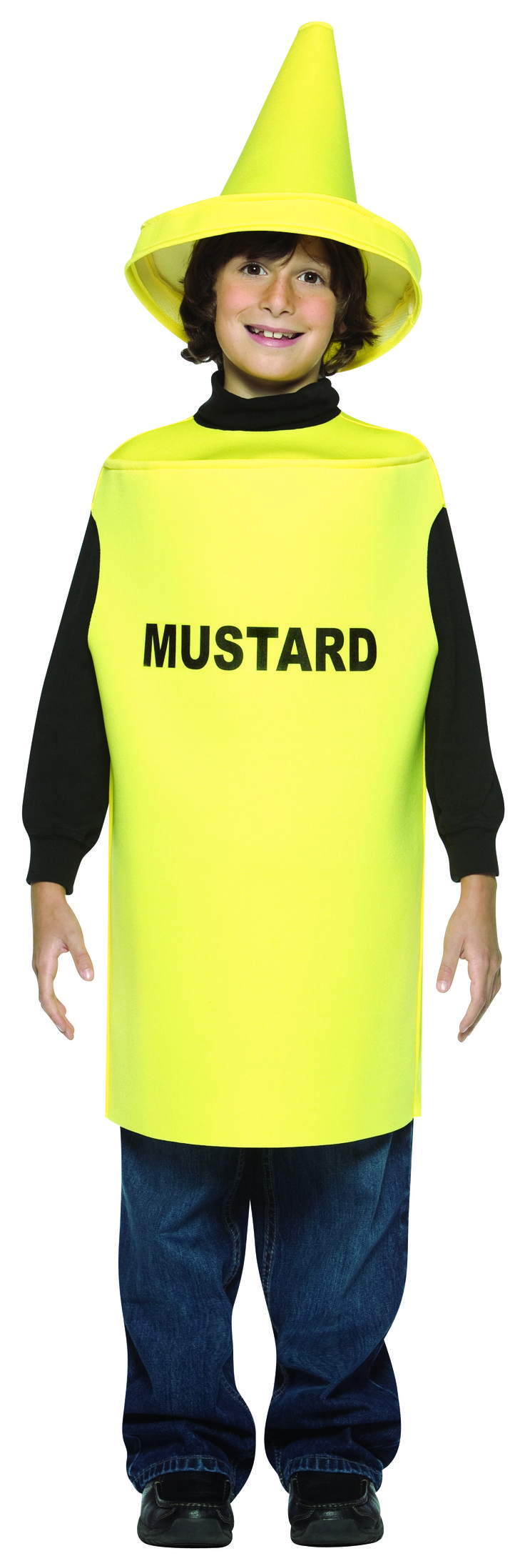 #976 Everything is better with mustard, including you!  The Mustard costume is a spicy and a fun way to dress up.  Goes great with Ketchup Costume.  Polyester. Sizes 7-10. #mustard #summerfun #summerevent #halloween #barbecue