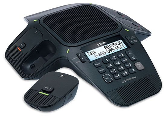 The VTech VCS704 ErisStation Conference Phone includes four wireless microphone units, enabling participants in different areas of a meeting room to deliver clear conversation in a phone conference.