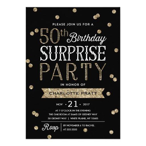 50th Glitter Confetti Surprise Party Invitation