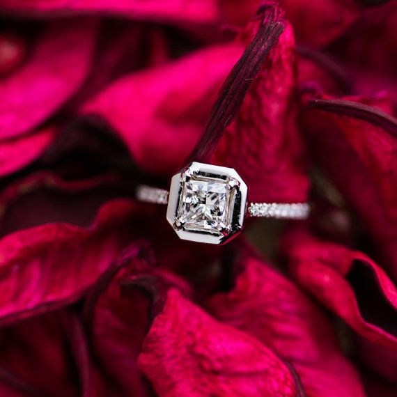 Beautiful 1 CT Princess Cut White Diamond by ZEHAVAJEWELRY on Etsy
