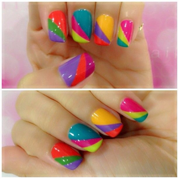 Colourful nails for the summer! You need nail polishes, some tape and time, but at the end it will look amazing!