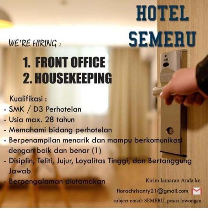 Lowongan Kerja Hotel Semeru Hotel Komunikasi