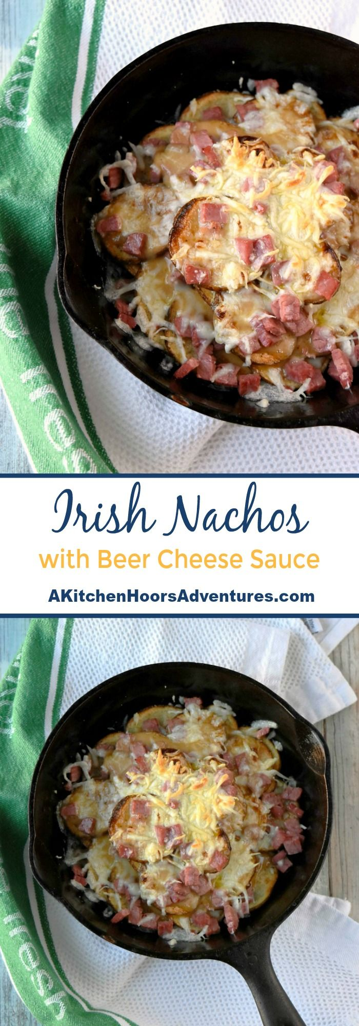 Layers of crisp baked potatoes are sprinkled with corned beef, Irish cheddar, and drizzled with a beer cheese sauce. Irish Nachos with Beer Cheese Sauce are stacked with delicious, cheesy flavors. #SundaySupper #IrishNachos #cheeserecipe #cheesesauce