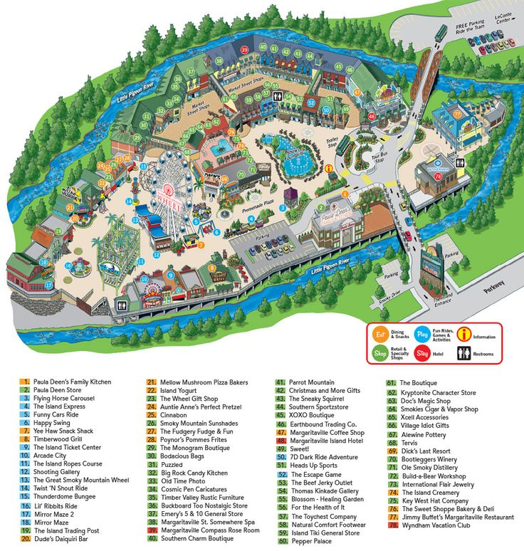 The Island In Pigeon Forge map Favorite Places amp Spaces