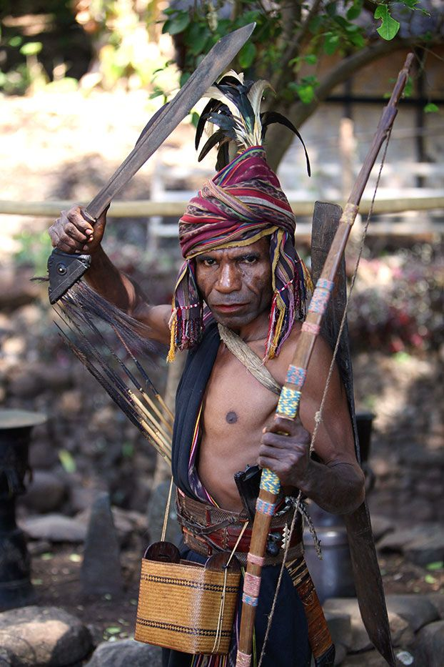 Traditional Village of Takpala in Alor Island, East Nusatenggara. Here is a nice snapshot of a warlord of Abuy. He looks quite fierce, but apparently he is a hospitable person.