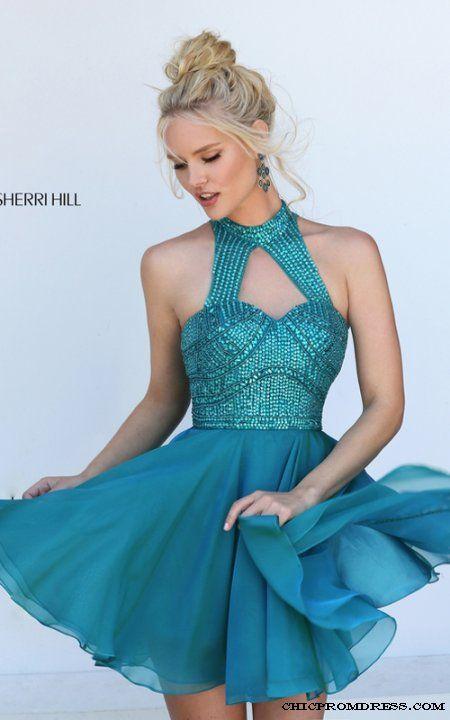 2016 Sherri Hill 50519 Chiffon Beaded Teal Homecoming Dress