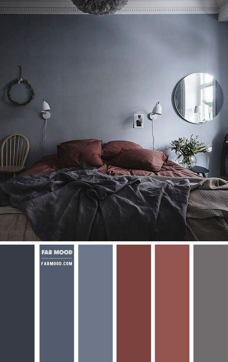 Grey Brown Bedrooms, Grey Bedroom Colors, Accent Colors For Gray, Bedroom Colour Palette, Red Colour Palette, Bedroom Red, Bedroom Color Schemes, Colour Schemes, Home Decor Bedroom