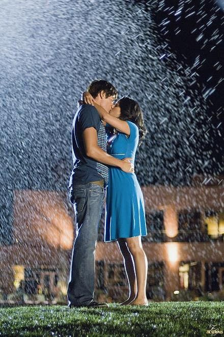 High School Musical 3: Senior Year Troy (Zac Efron) and Gabriella (Vanessa Hudgens) celebrate their young love among the sprinklers.
