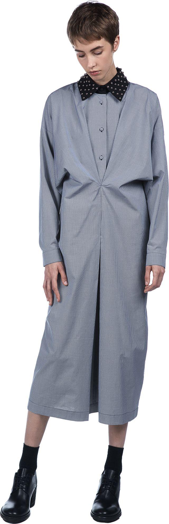 Studded Collar Gathered Shirt Dress | J.W.Anderson | LOIT