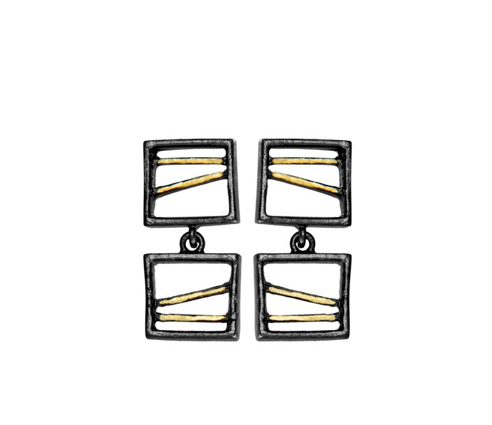 Senia collection. Designed by Joid'art Lab. Rectangles formed by an interior structure of little interwoven rods. 2 finishes: matt rhodium-plated silver, black-plated metal with gold metal on the tips. #joidartlab #joidartSS14 #joidart #barcelona #joidartsunnydays #contemporaryjewelry #contemporaryjewellery