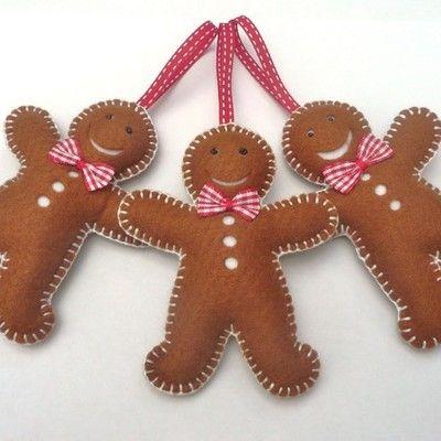 Gingerbread Man Trio - Felt Christmas Decorations