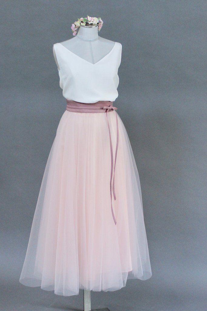 Tullrock Rosa Wadenlang Outfit Hochzeit Kleid Standesamt Brautmode