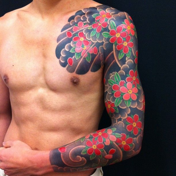 Irezumi tattooing of Japan... Probably beginning of traditional full body suit. Black artwork around the chest might work with mandala and double bar