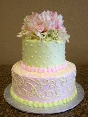 square wedding shower cake with flowers - Google Search