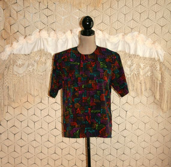 80s Hipster Top Club Kid Abstract Blouse Short by MagpieandOtis