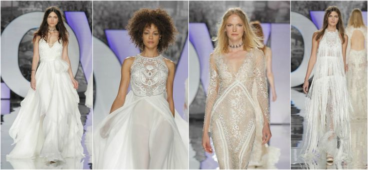 Tessuti leggeri e preziosi per le gonne; pizzo e trasparenze protagonisti. Ecco le foto e il video della sfilata degli abiti da sposa Yolan Cris 2018!