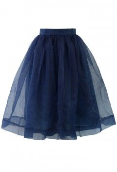 Blue Organza Midi Skirt - Retro, Indie and Unique Fashion