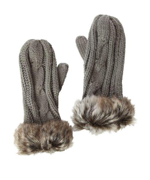 bootlegger.com : kismet fur cable knit mitts
