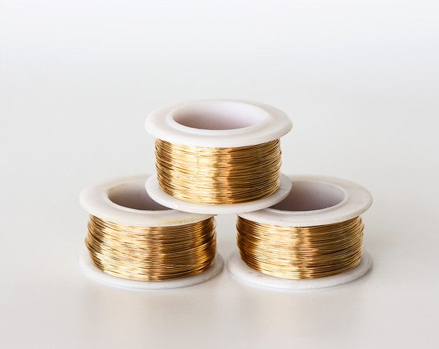 1626_55_Gilt jewelry wire 28 gauge, Gold wire 0.3mm, Golden wire reel, Copper wire, Wire wrap, Gilt craft wire, Thin wire, Wrapping wire_55 m.    Price listed is for 1 reel (about 55 meters).    -...