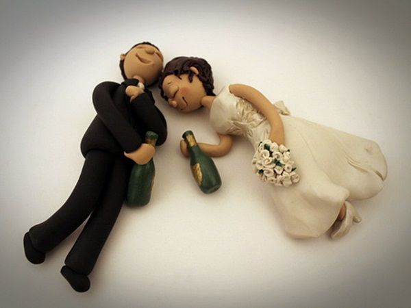 drunk bride and groom funny cake topper                                                                                                                                                                                 More