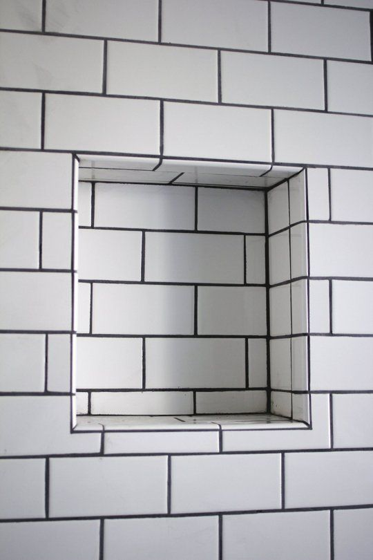 White Tile Black Grout Bathroom Pinterest Recessed