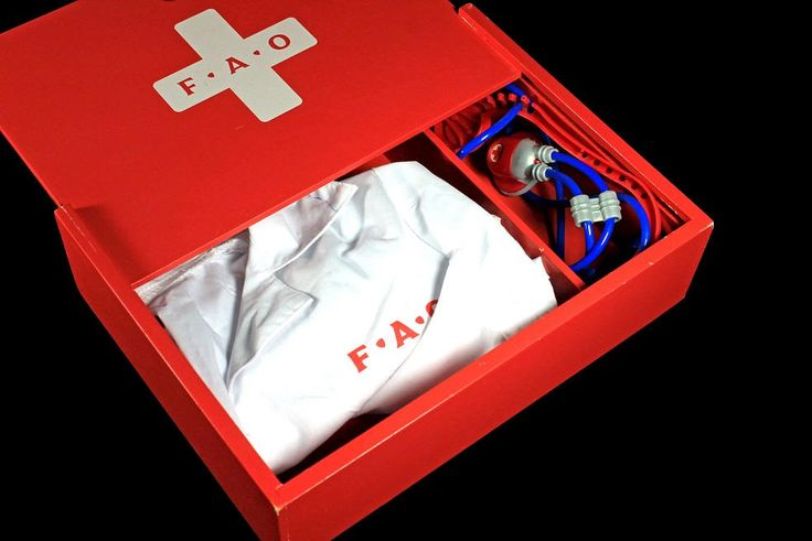 FAO Schwarz Doctors Kit, Toy, Red Wooden Box, Doctors White Jacket, Stethoscope, Collectible by MountainAireVintage on Etsy