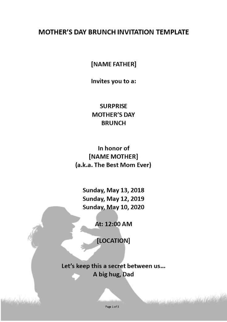 Mother's Day Surprise Brunch Invitation - Looking for the perfect mother's day surprise brunch invitation in Word? Check out this Mother's Day Brunch Invitation now!