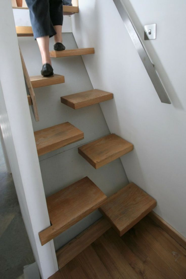 Furniture and Accessories. Awesome Creative Wall-Mounted Tread Space-Saver Stair Design Ideas. Cool Space-Saver Staircase Design Ideas