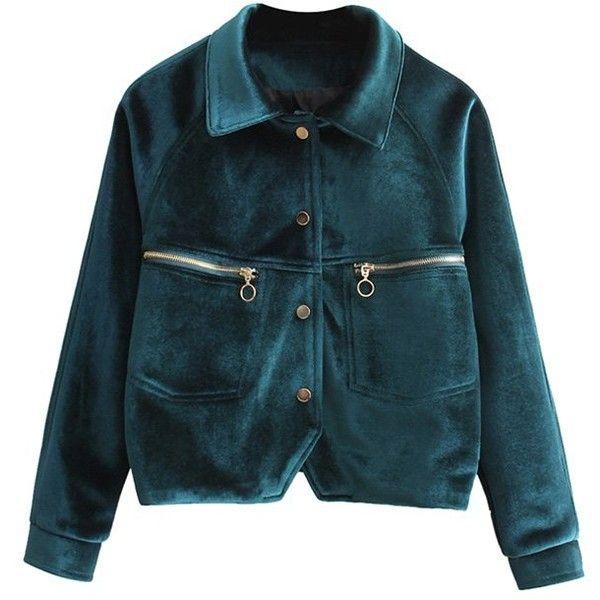 Letter Embroidered Velvet Jacket ($39) ❤ liked on Polyvore featuring outerwear, jackets, velvet jacket, letter jacket, blue jackets, embroidery jackets and embroidered jacket