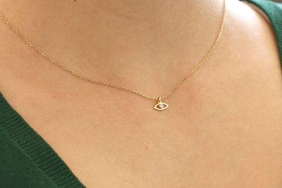 Evil Eye Necklace, Gold Eye Necklace, Diamond Evil Eye Necklace, Dainty Gold Necklace, Gold Diamond Necklace, Gold Delicate Necklace, GN0325