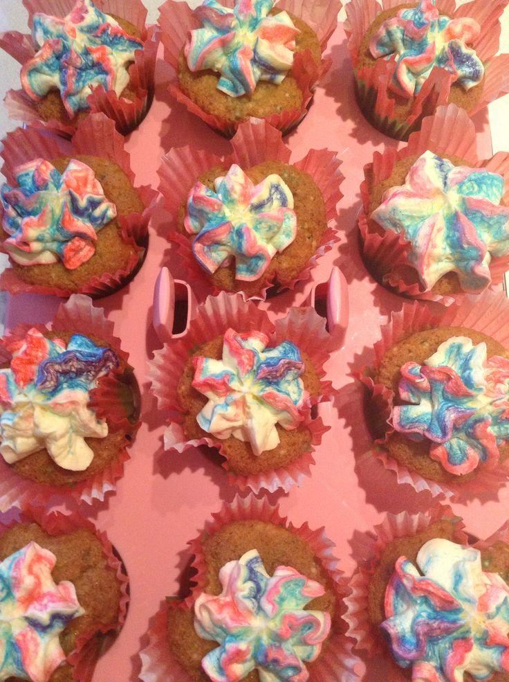 Confetti cupcakes with vanilla rainbow icing